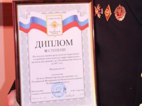 Отдел МВД России по Кизильскому району по итогам работы за 2017 год занял 2 место в своей подгруппе